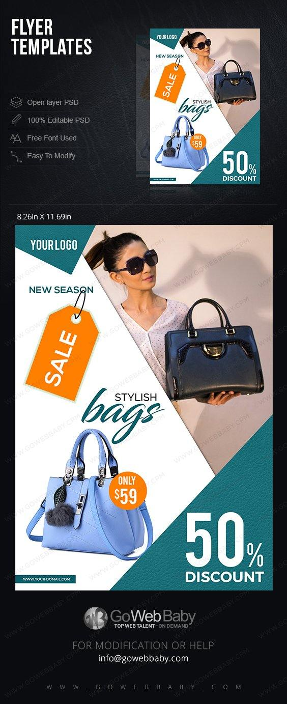 Flyer Templates - Stylish Handbags For Website Marketing - GoWebBaby.Com