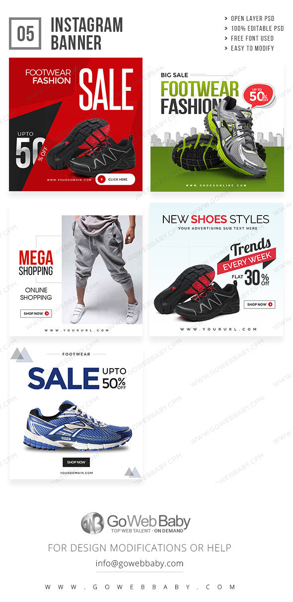 Shoe Sale Instagram Banners For Website Marketing - GoWebBaby.Com