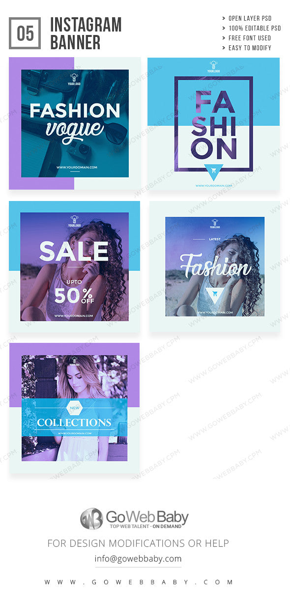 Instagram ad banners - Fashion sale for website marketing - GoWebBaby.Com