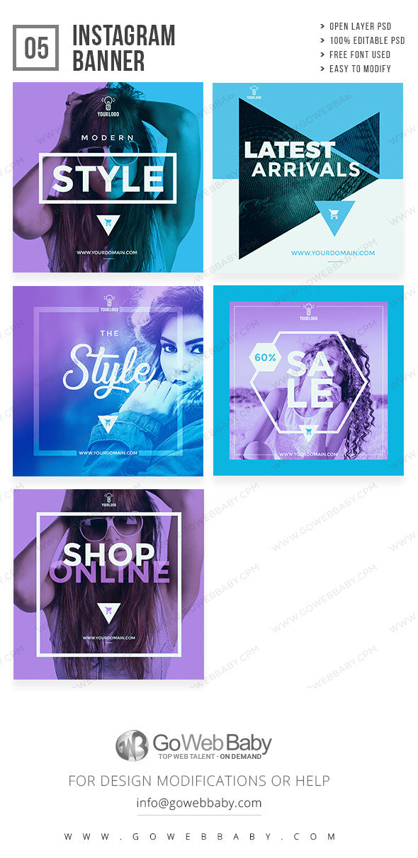 Instagram Ad Banners - Fashion Sale For Website Marketing