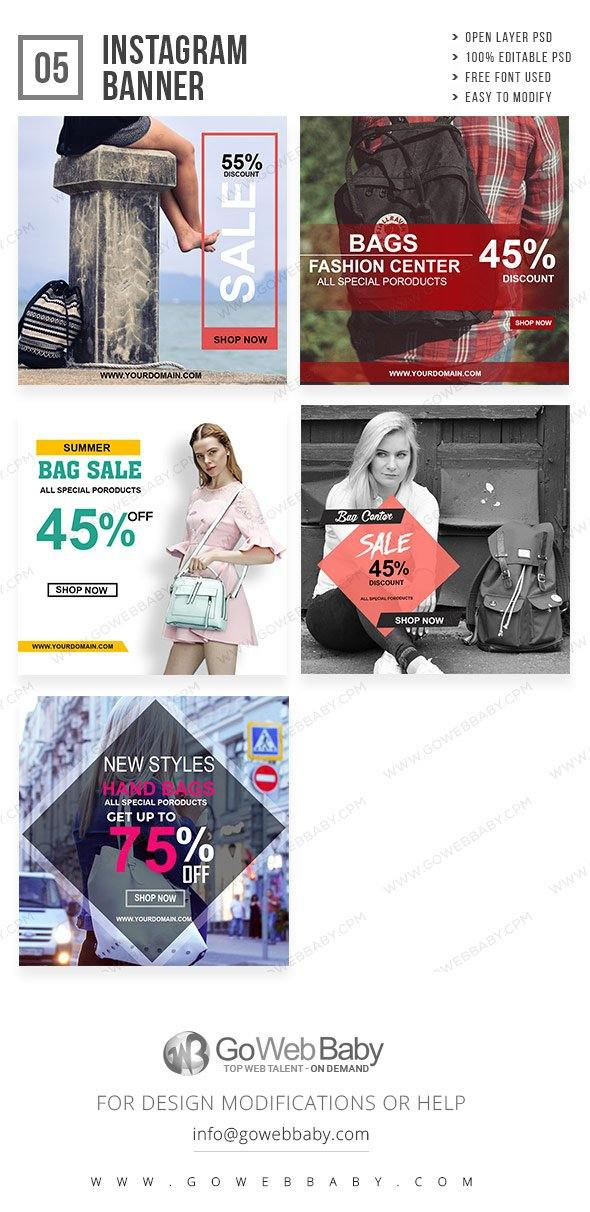 Instagram Ad Banners - Stylish Ladies Bags For Website Marketing - GoWebBaby.Com