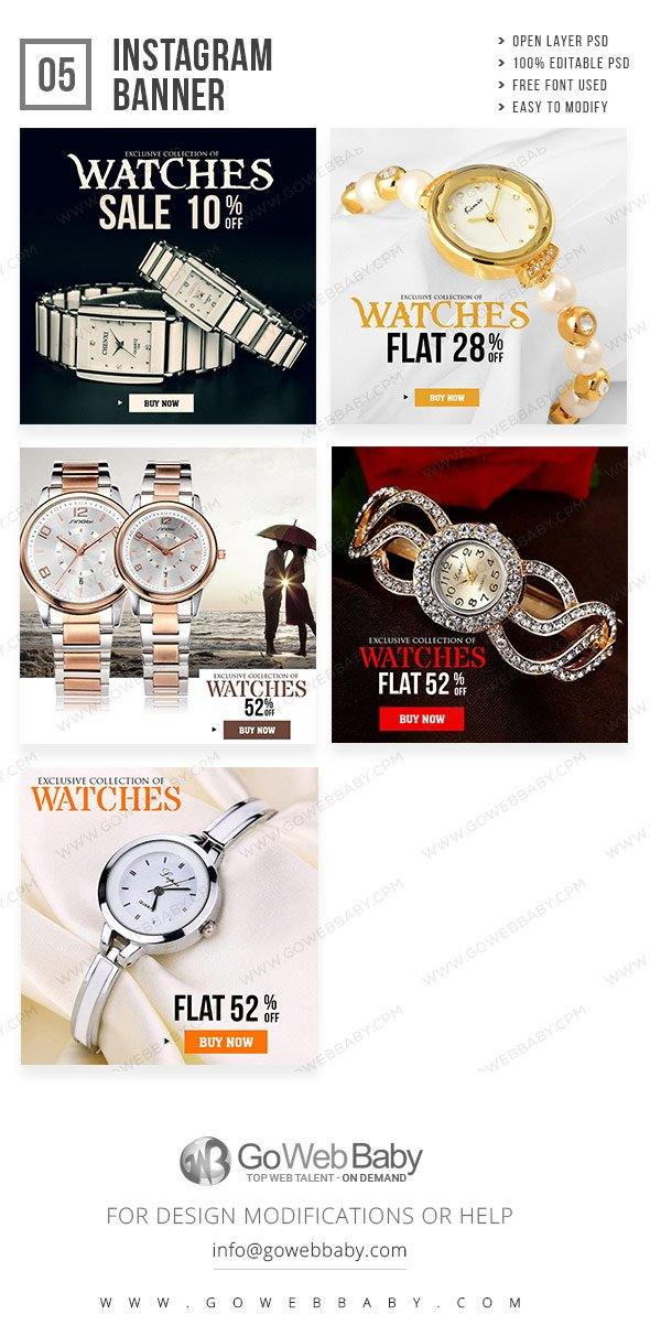 Instagram Ad Banners - Premium Watch Collection For Website Marketing - GoWebBaby.Com