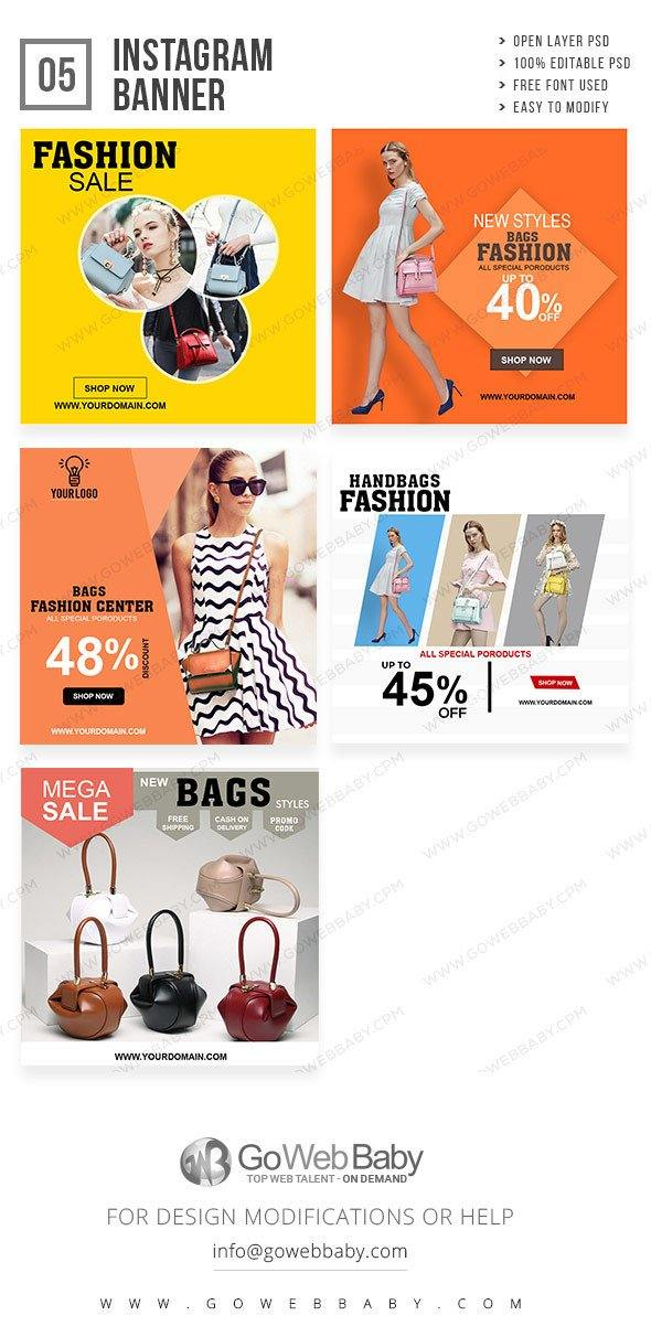 Instagram Ad Banners - Bag Store For Website Marketing - GoWebBaby.Com