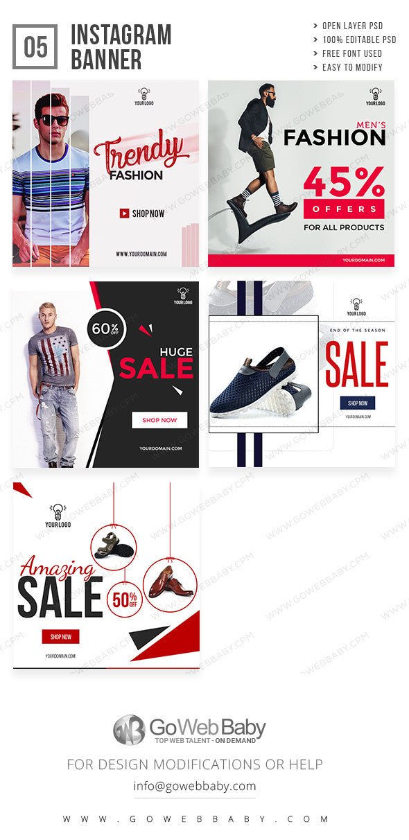 Men's Fashion Instagram ad banners for website marketing - GoWebBaby.Com