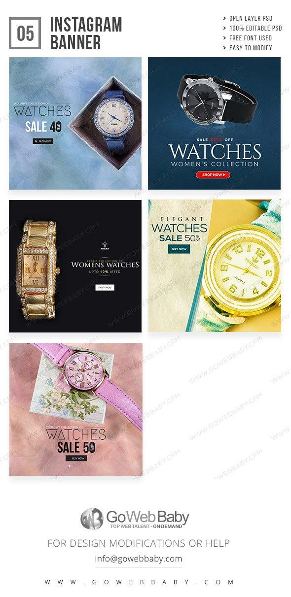 Instagram Ad Banners - Feminine Watch Collection For Website Marketing - GoWebBaby.Com