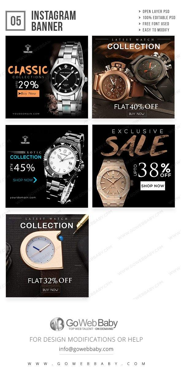 Instagram Ad Banners - Watches Shop For Men - GoWebBaby.Com