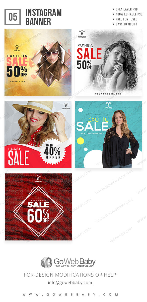 Instagram ad banners - Women's fashion store for website marketing