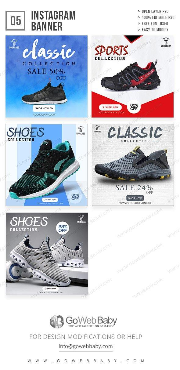 Instagram ad banners - Classic sport shoes for website marketing - GoWebBaby.Com
