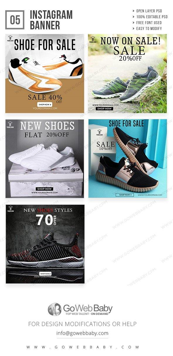Instagram ad banners - Sport shoes for website marketing - GoWebBaby.Com