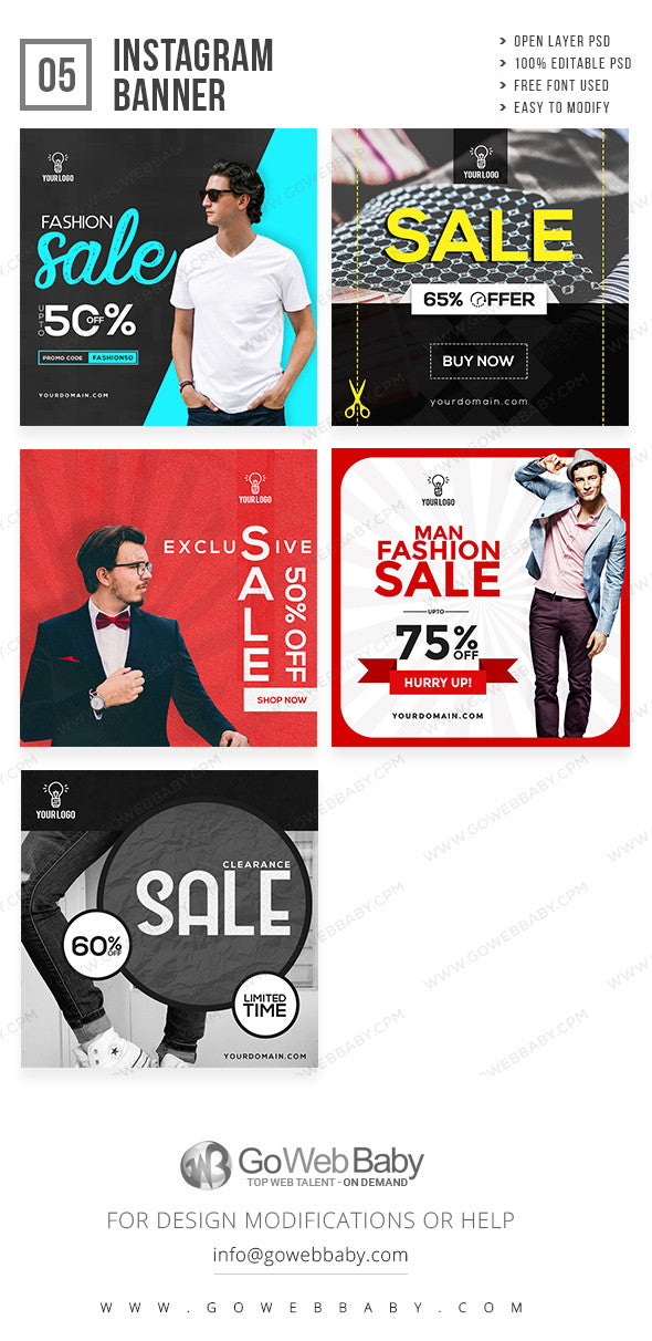 Instagram Ad Banners - Men's Fashion Store - GoWebBaby.Com