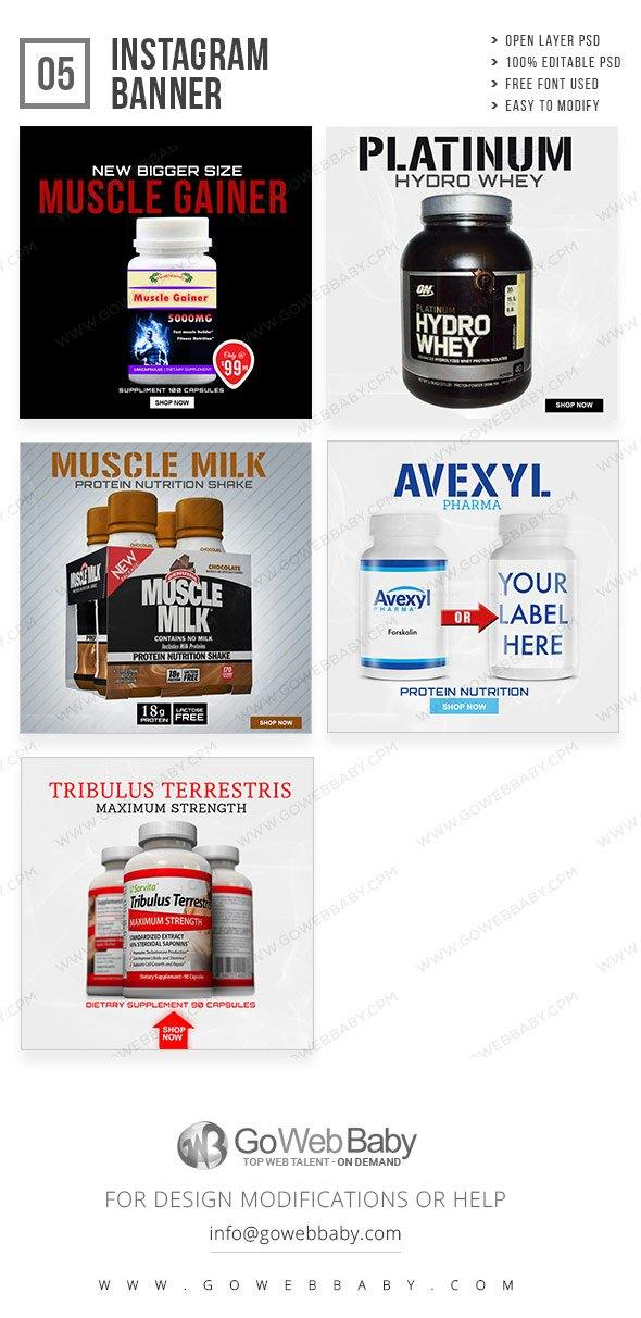 Instagram ad banners - Nutrition for website marketing - GoWebBaby.Com