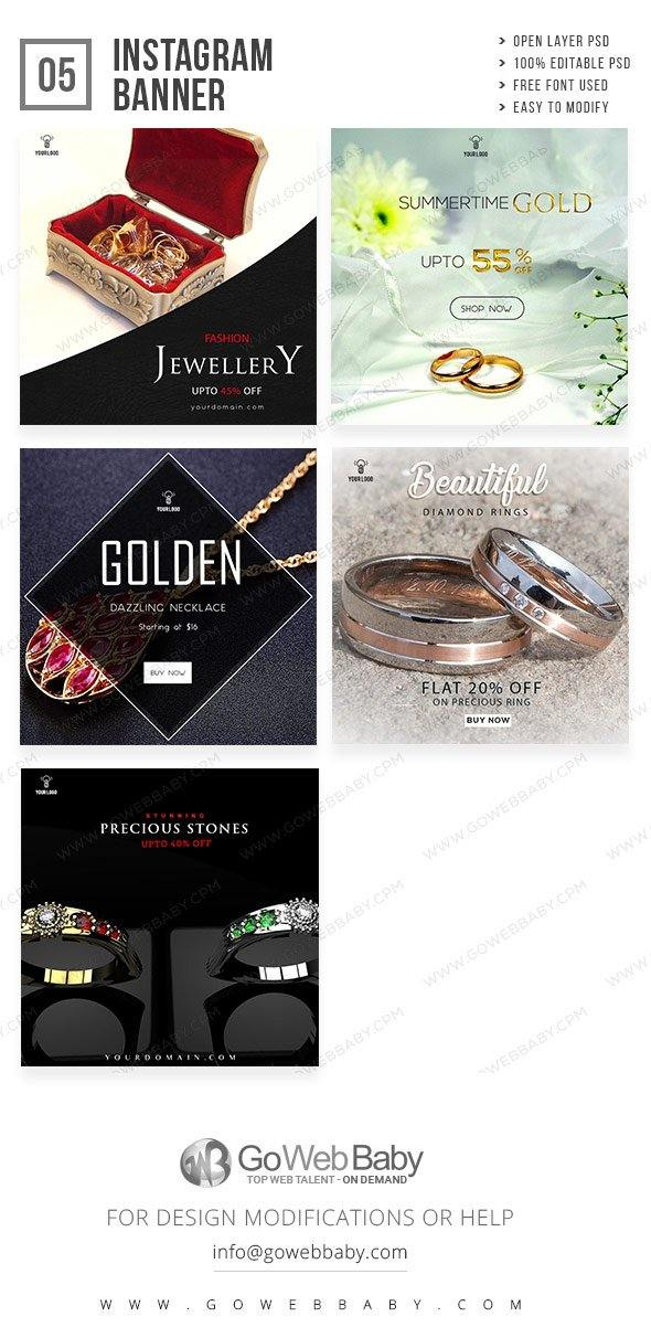 Instagram Ad banner - Female Precious Jewelry For Website Marketing - GoWebBaby.Com