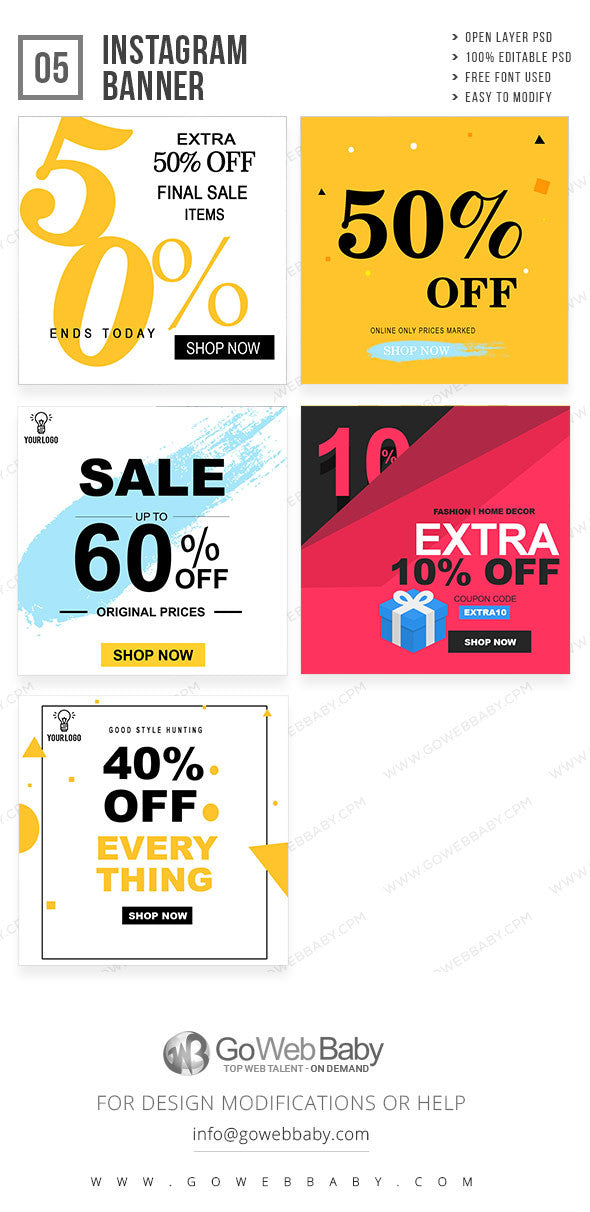 Sale Instagram banner for website marketing - GoWebBaby.Com
