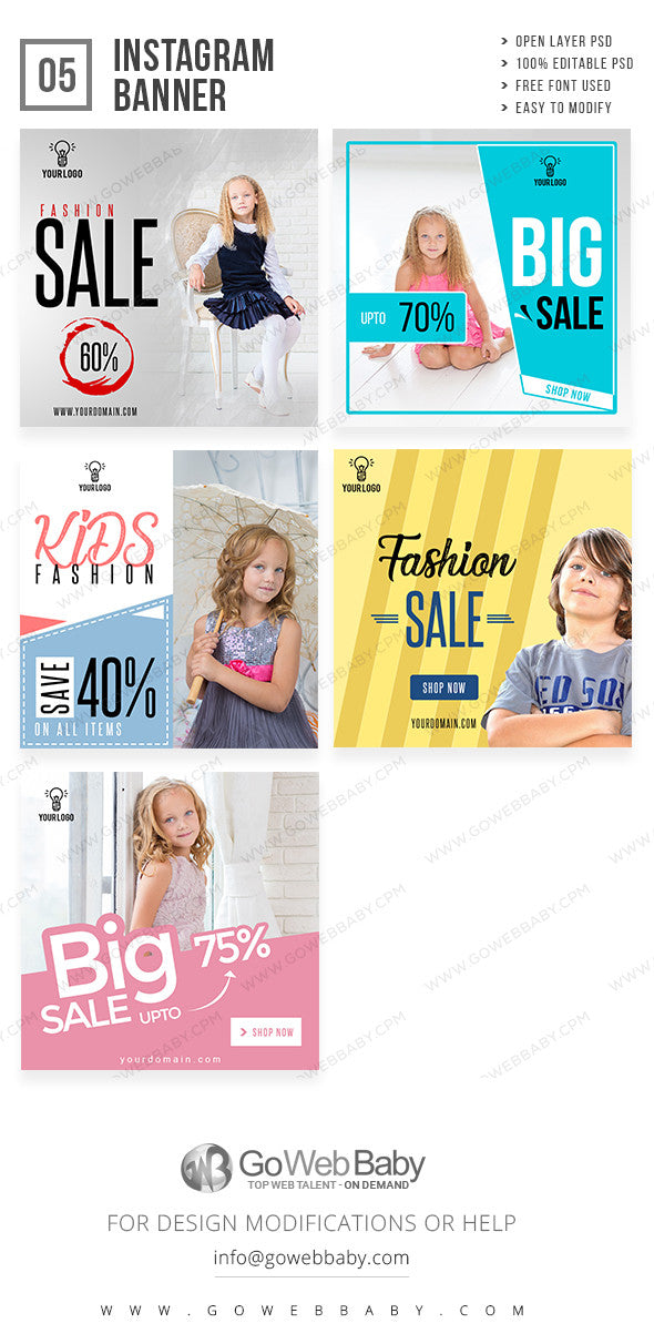 Kids fashion Instagram ad banners for website marketing - GoWebBaby.Com