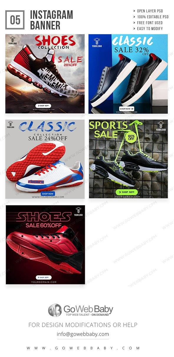 Instagram ad banners - Classic shoes for website marketing - GoWebBaby.Com