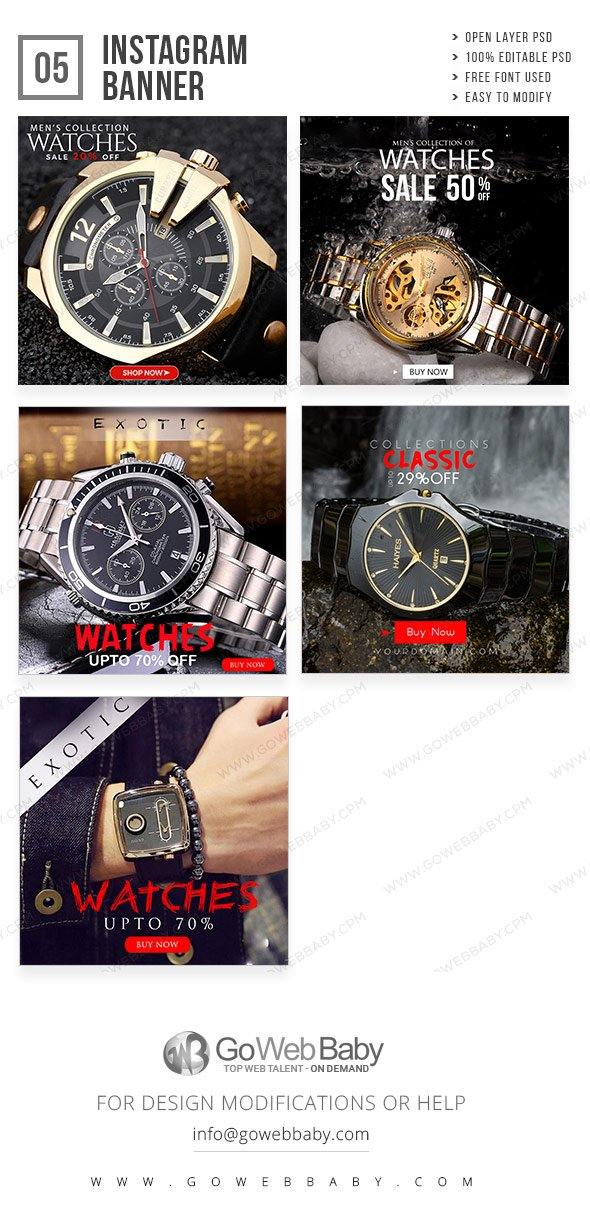 Instagram Ad Banners- Antique watch For Website Marketing - GoWebBaby.Com