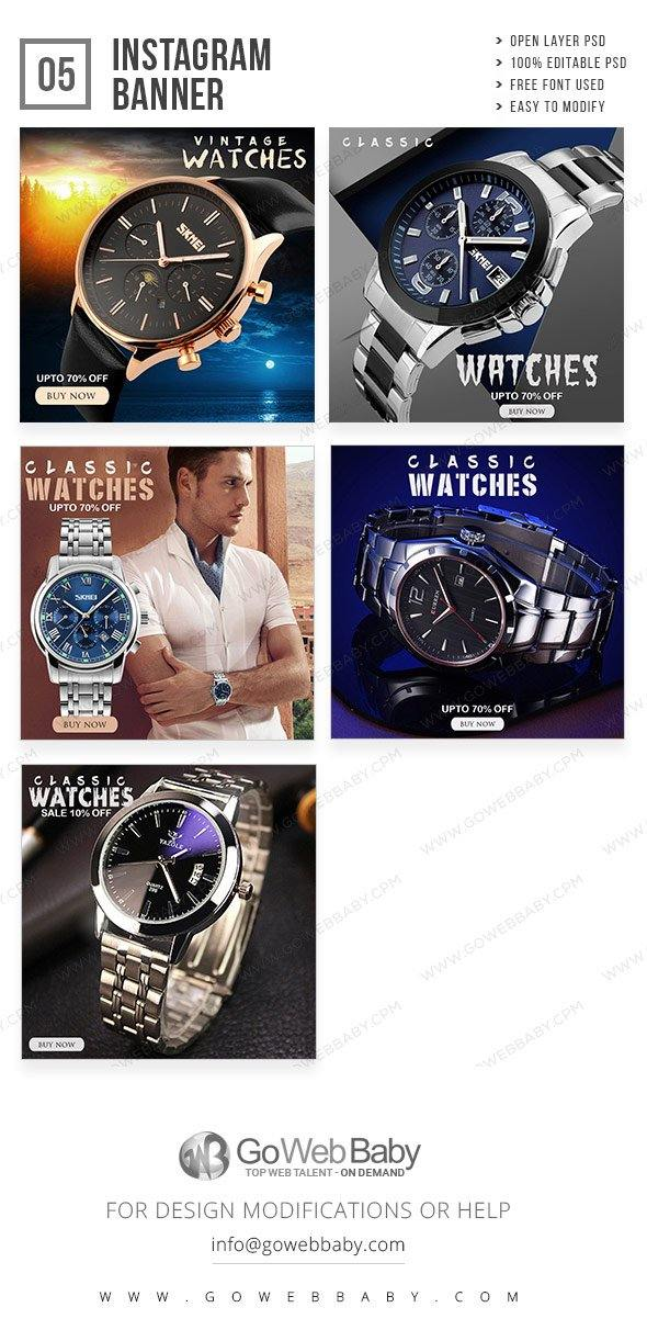 Instagram Ad Banners - Smart Watch For Men - GoWebBaby.Com