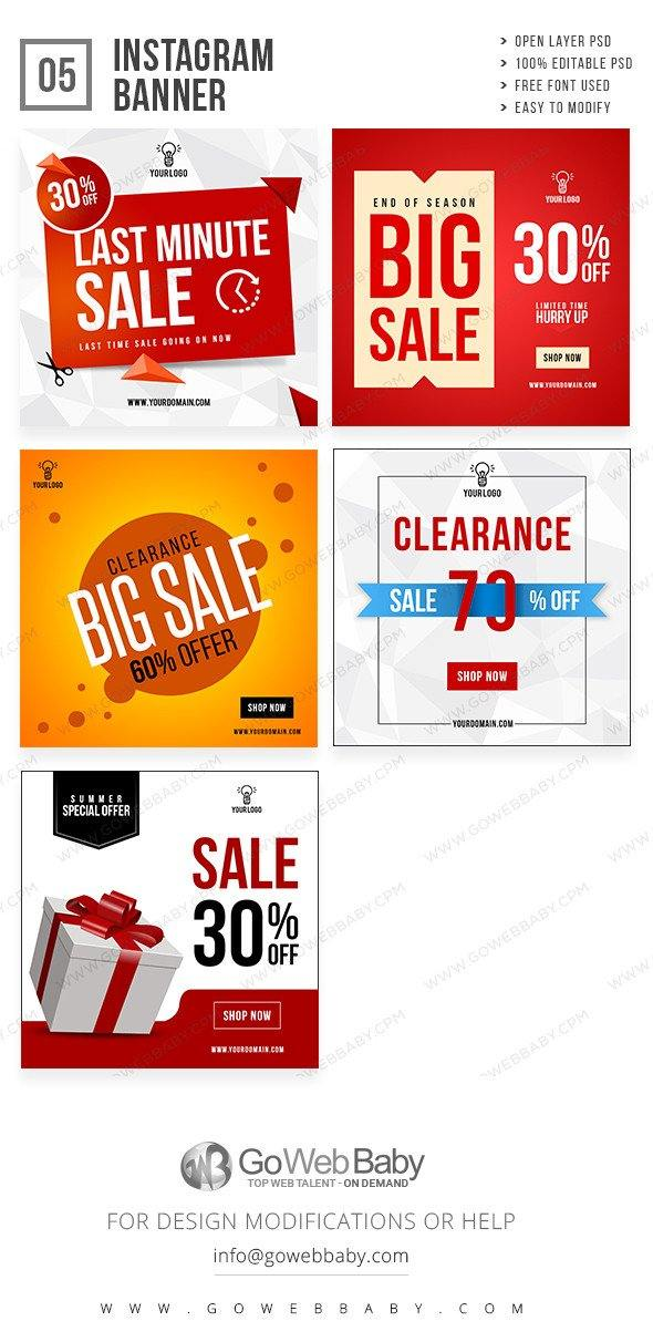 Clearance Sale Instagram ad banners for website marketing - GoWebBaby.Com