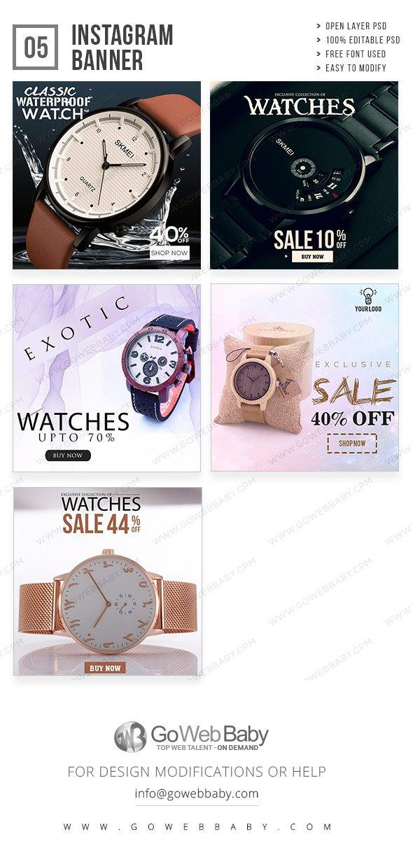 Instagram Ad Banners - Watch Center For Men - GoWebBaby.Com