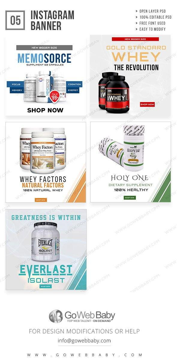 Instagram ad banners - Nutrition Product for website marketing - GoWebBaby.Com