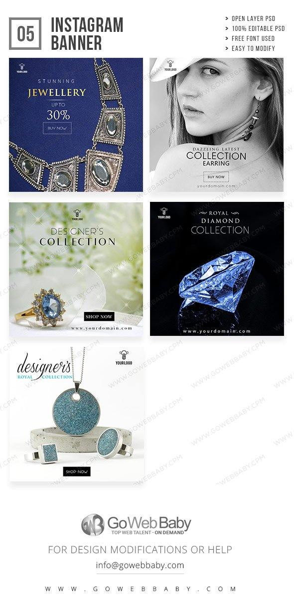 Instagram Ad banner - Jewellery For Website Marketing - GoWebBaby.Com
