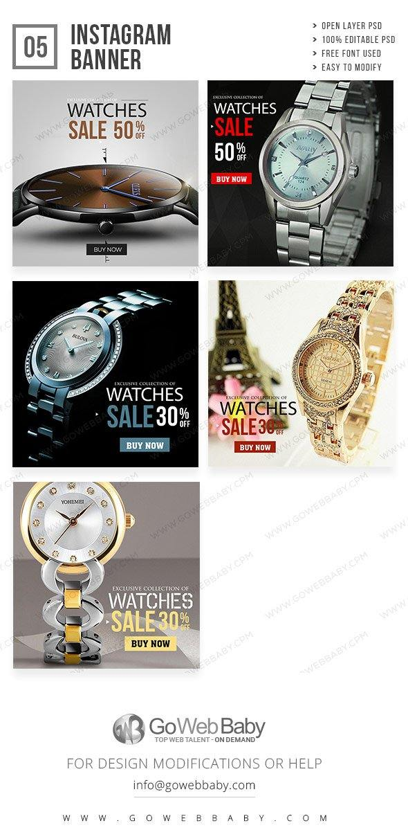 Instagram Ad Banners - Women's Watch Store For Website Marketing - GoWebBaby.Com