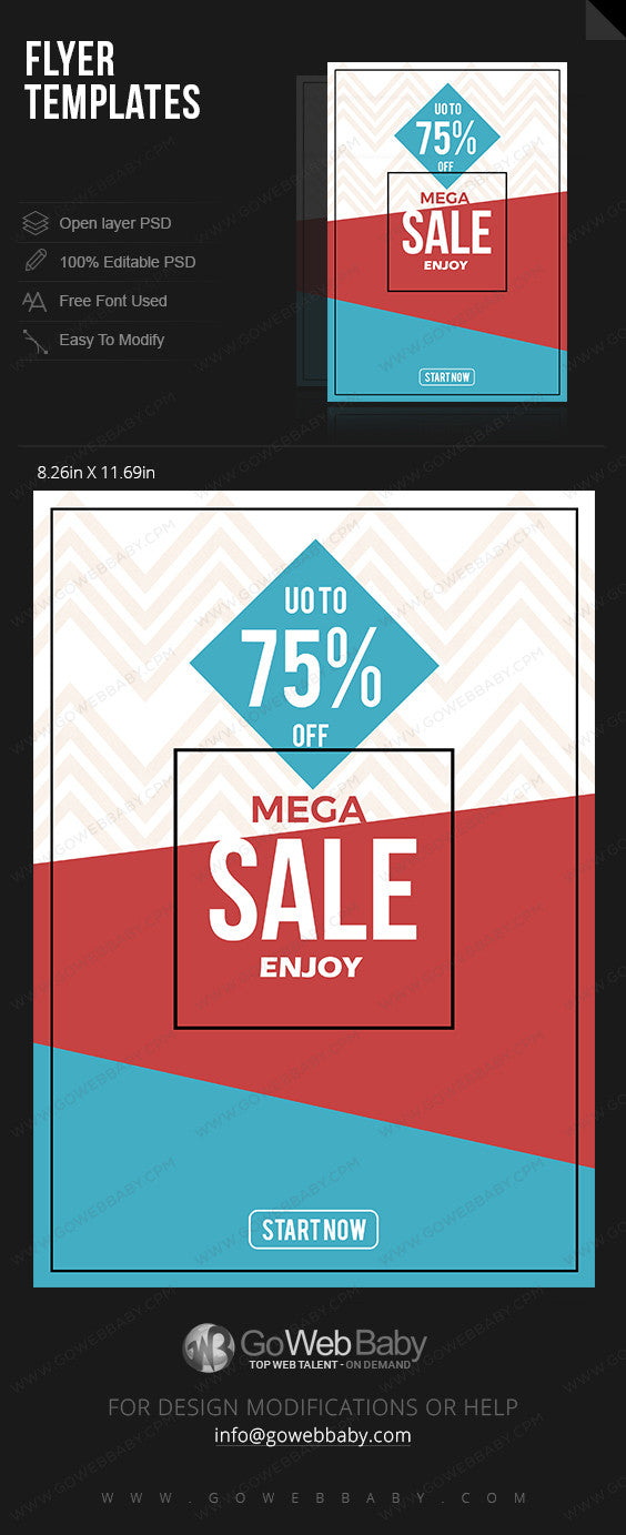 Flyer template - Mega Sale for website marketing - GoWebBaby.Com