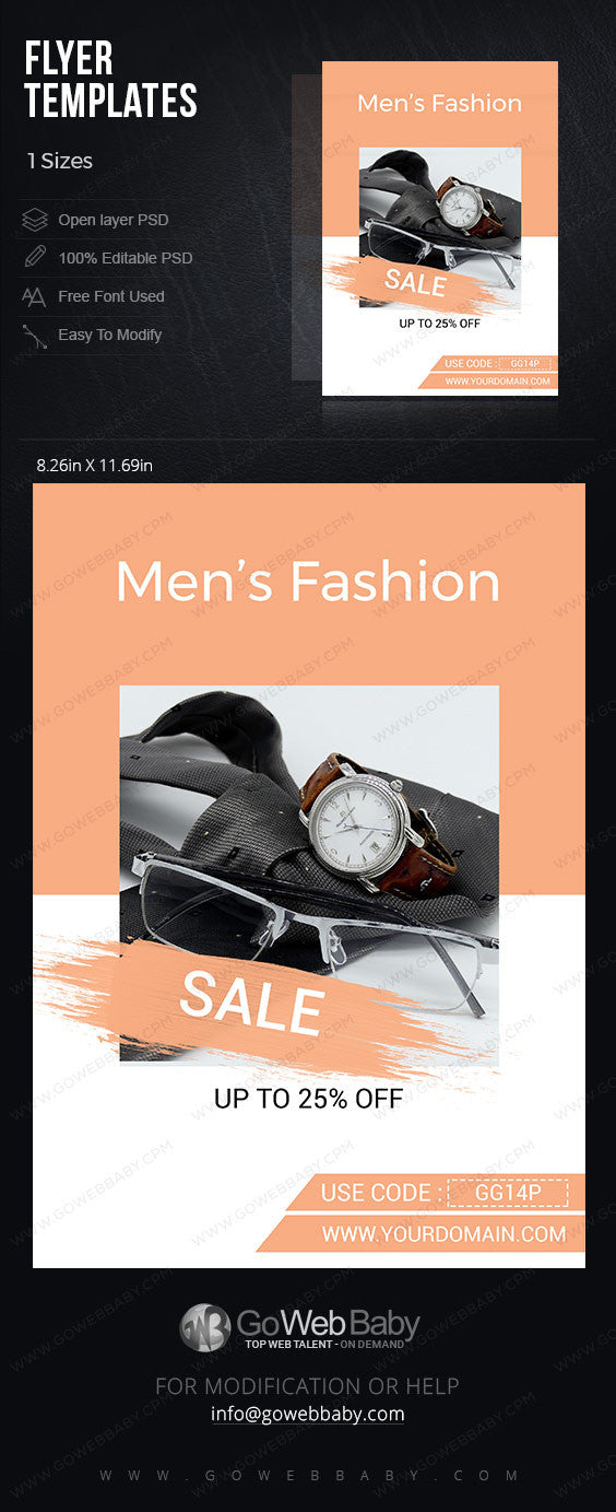 Flyer templates - Men's fashion store for website marketing - GoWebBaby.Com