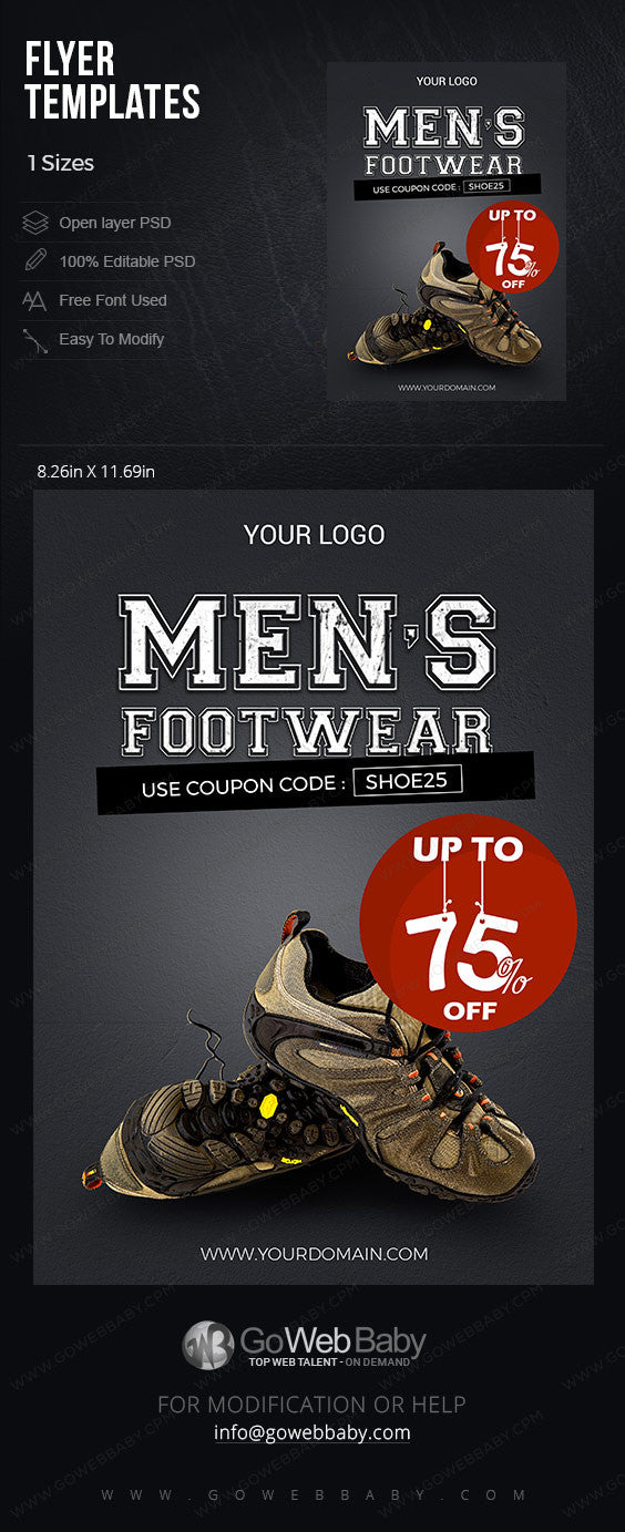 Flyer Templates - Shoes for Men for website marketing