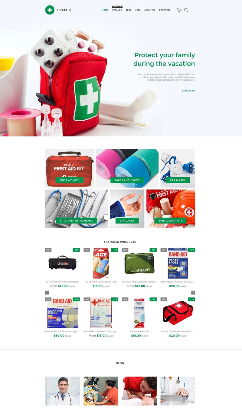 FirstAid - Medical & Healthcare - Magento eCommerce Website & Photoshop Design - GoWebBaby.Com
