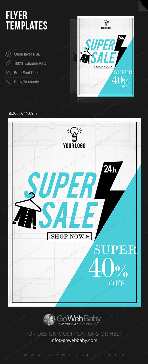 Hanger Icon super sale flyer for website marketing - GoWebBaby.Com