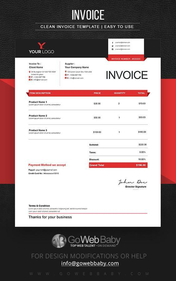 Design Invoice Templates For Website Marketing - GoWebBaby.Com