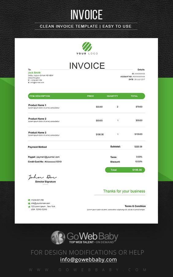 Invoice Templates For Website Marketing - GoWebBaby.Com