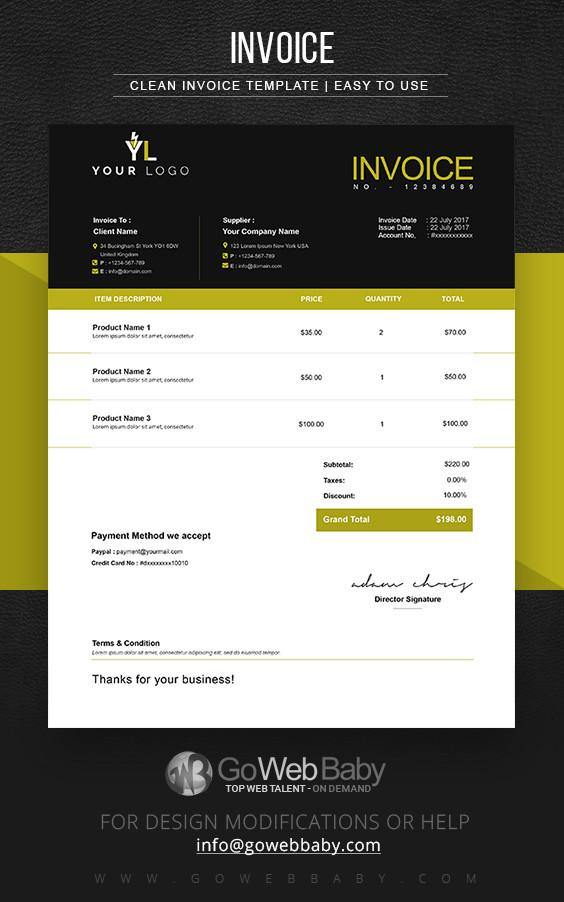 Pro Forma Invoice Templates For Website Marketing - GoWebBaby.Com
