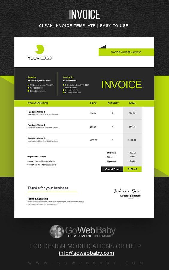 Billing Invoice Templates For Website Marketing - GoWebBaby.Com