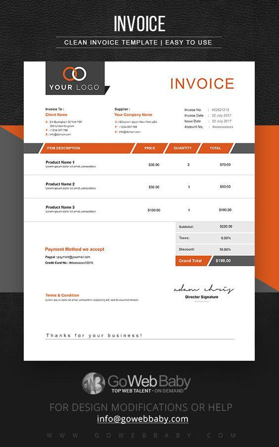 Invoice template for Business - GoWebBaby.Com