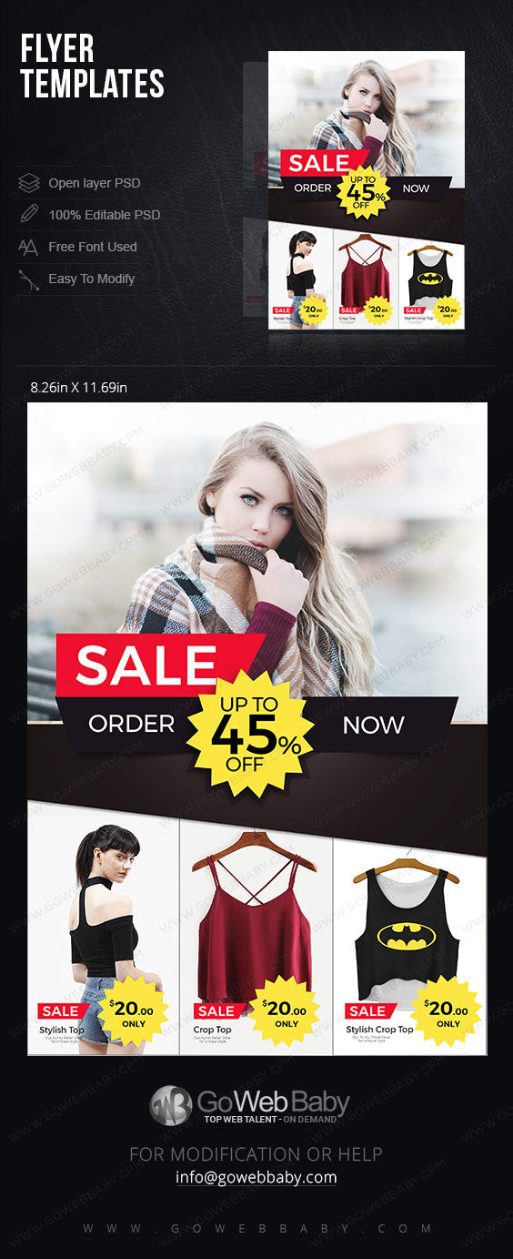 Flyer templates - Clothing sale for website marketing