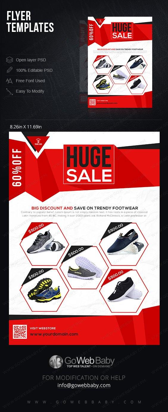 Flyer Templates - Trendy Footwear For Website Marketing - GoWebBaby.Com