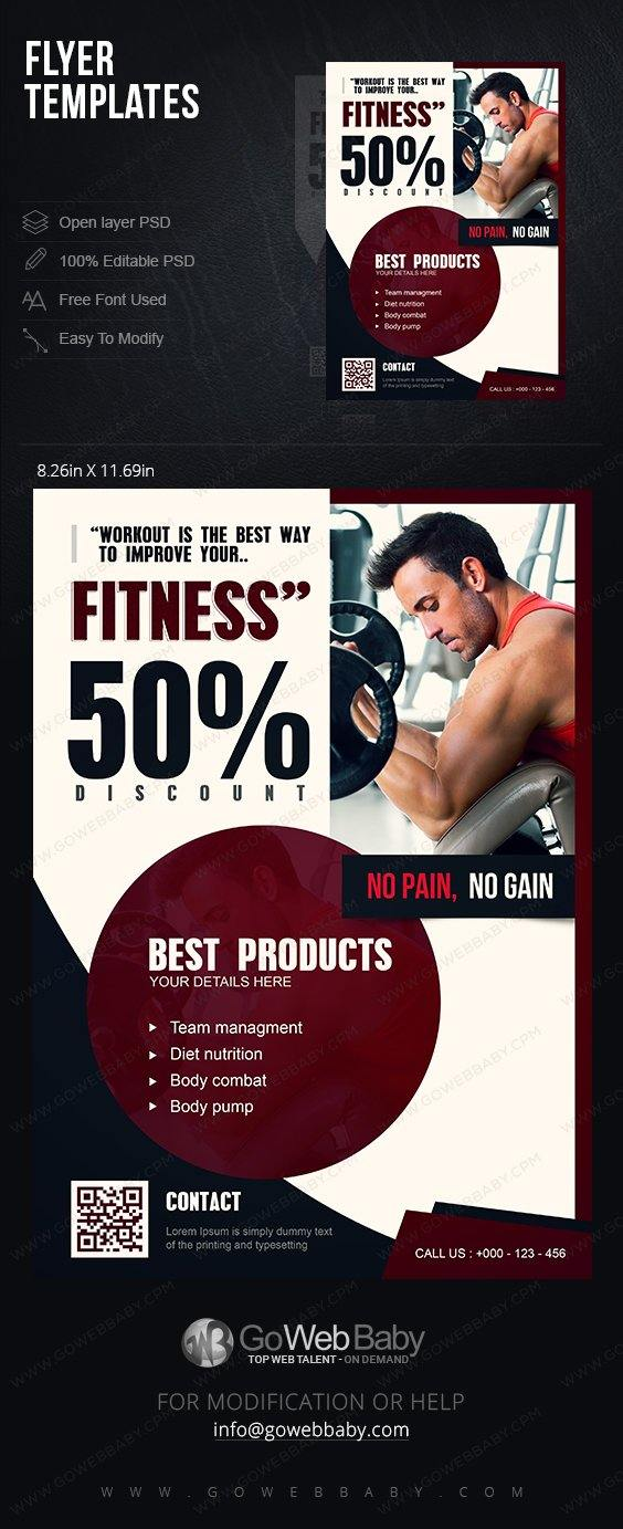 Flyer templates - Nutrition & Fitness For Website Marketing - GoWebBaby.Com