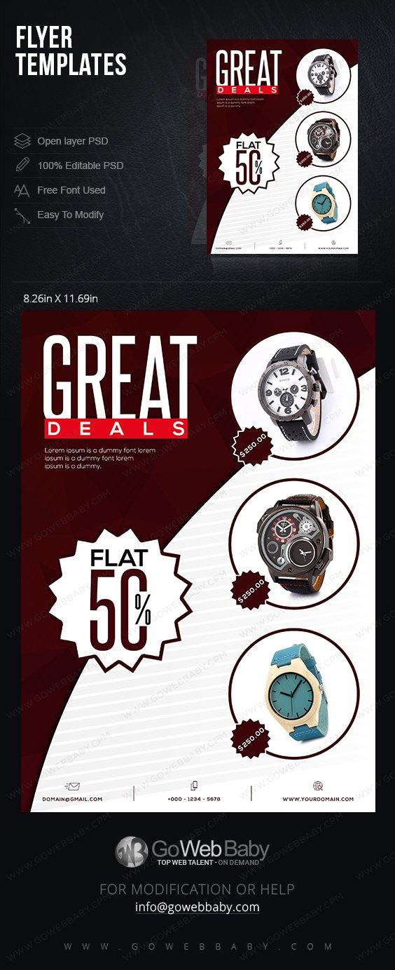Flyer Templates -Exotic Men's Watches For Website Marketing - GoWebBaby.Com