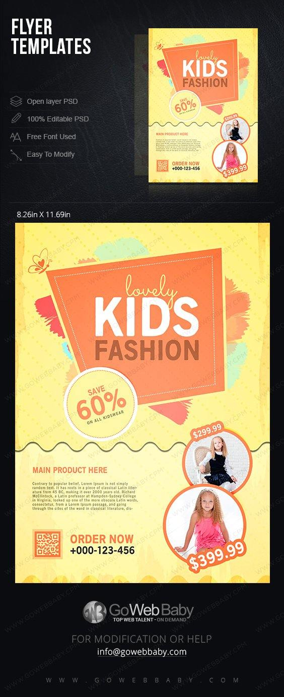Flyer templates - Classic kids wear for website marketing - GoWebBaby.Com