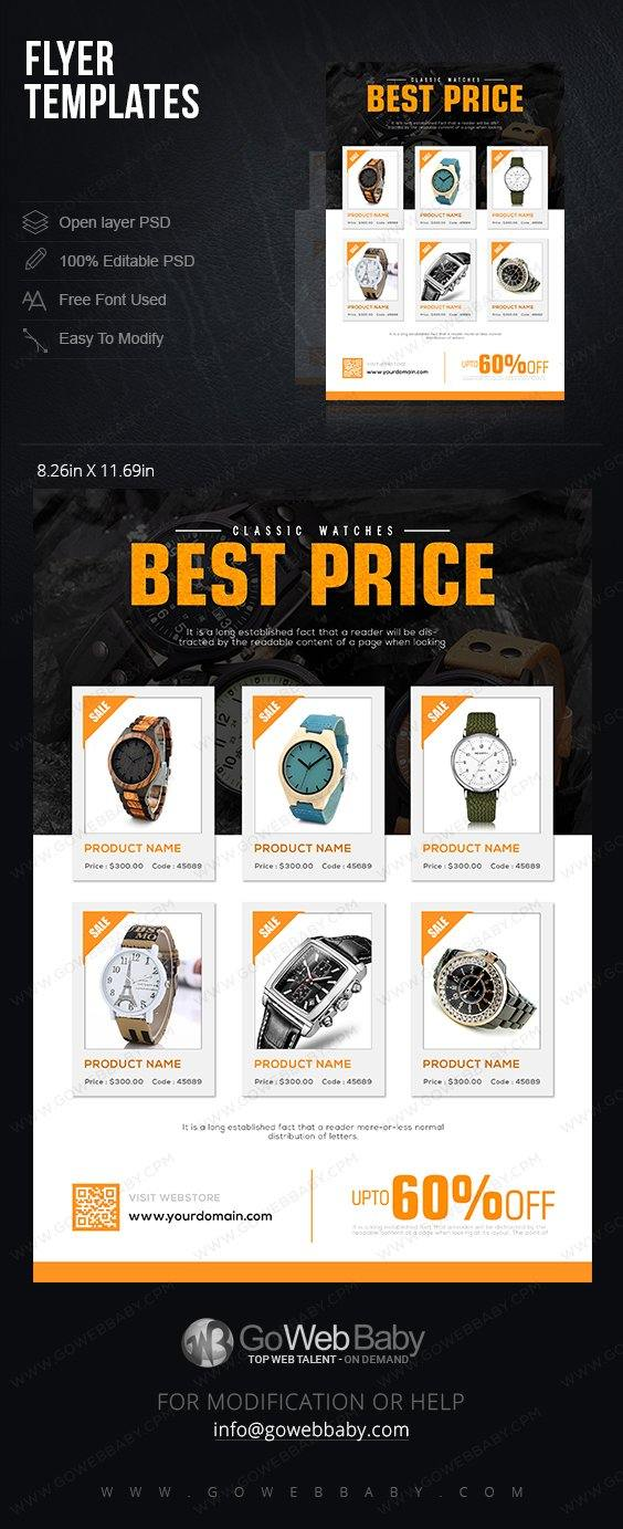 Flyer templates For Website Marketing  - Classic Watch For Men - GoWebBaby.Com
