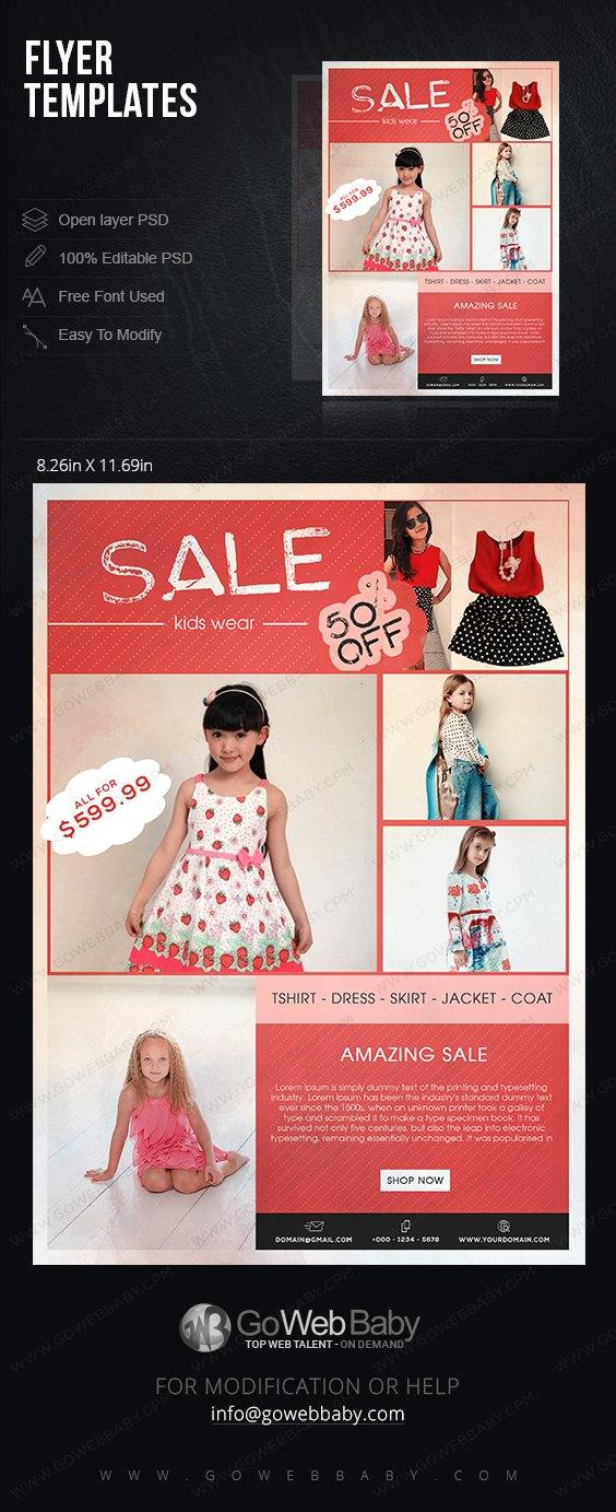 Flyer templates - Kids fashion for website marketing - GoWebBaby.Com
