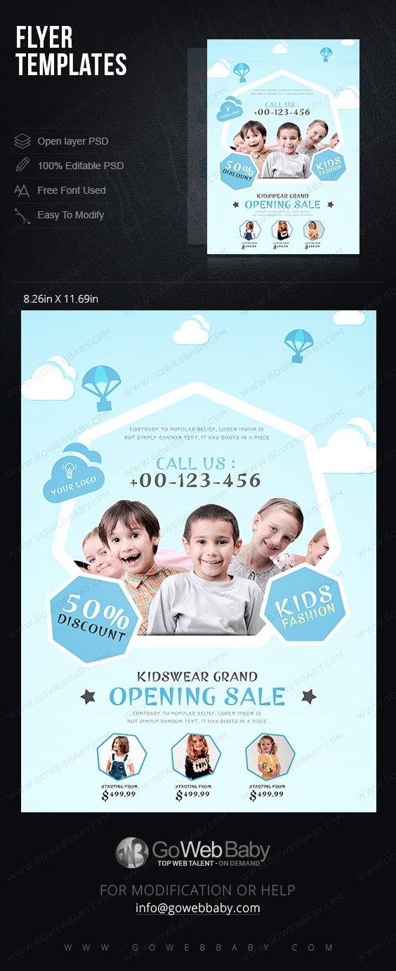 Flyer templates - Stylish kids wear for website marketing - GoWebBaby.Com