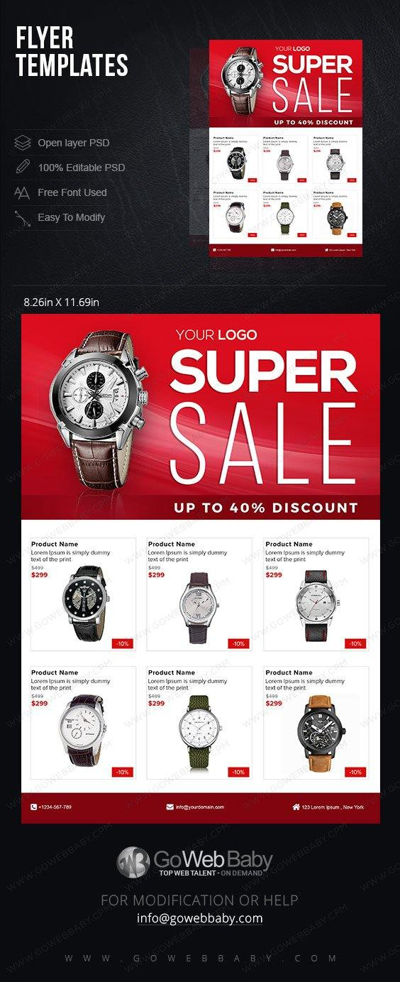 Flyer templates - Men's Watches For Website Marketing - GoWebBaby.Com