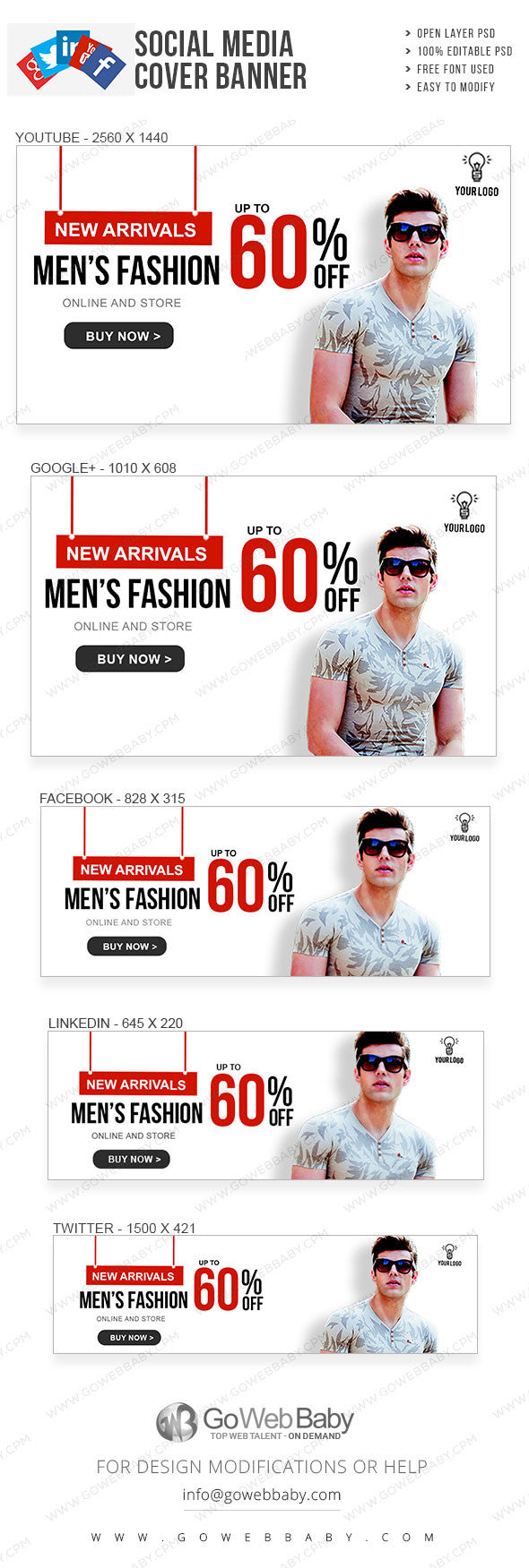 Social Media Cover Banner - Men's clothing for website marketing