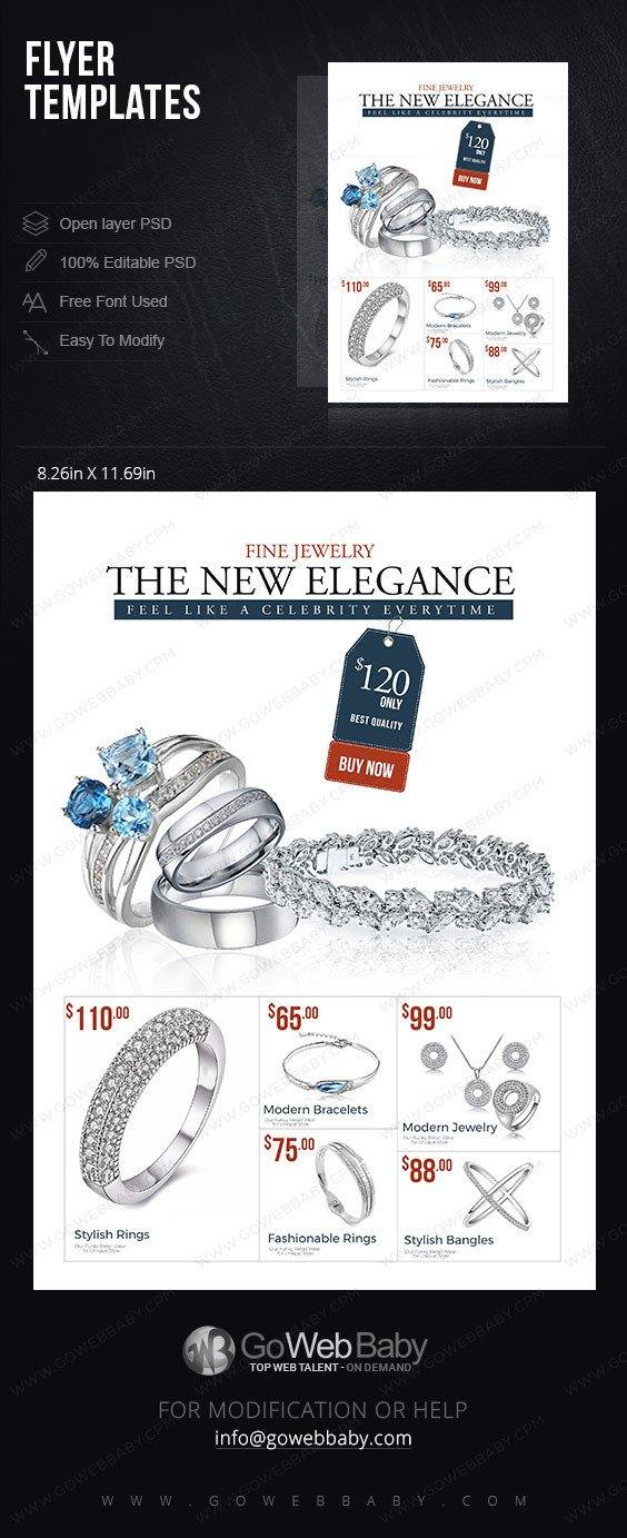 Flyer templates - Elegance fine jewelry for website marketing - GoWebBaby.Com