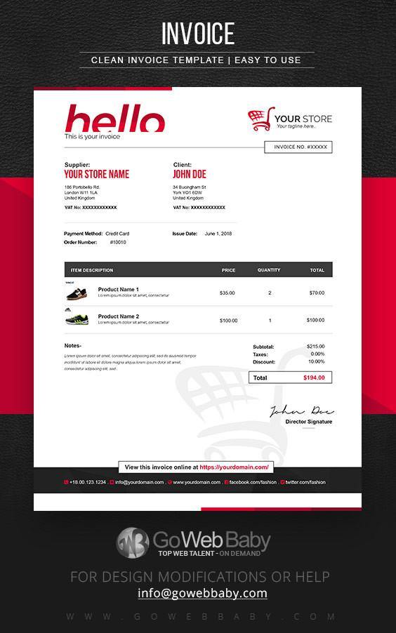 E-Commerce Invoice Templates For Website Marketing - GoWebBaby.Com