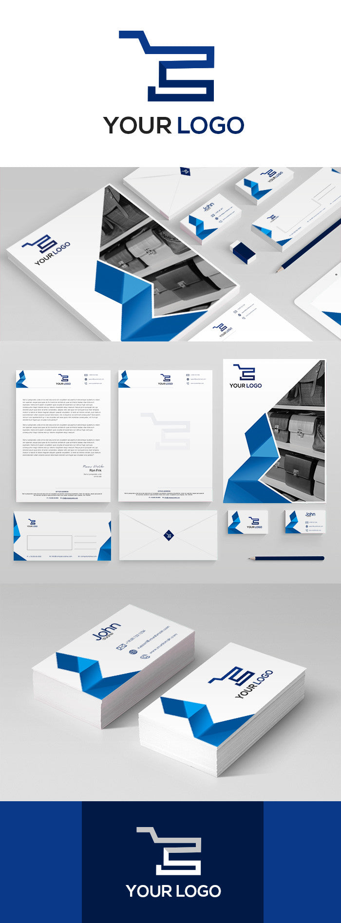 White And Blue Corporate kit for Website Marketing - GoWebBaby.Com
