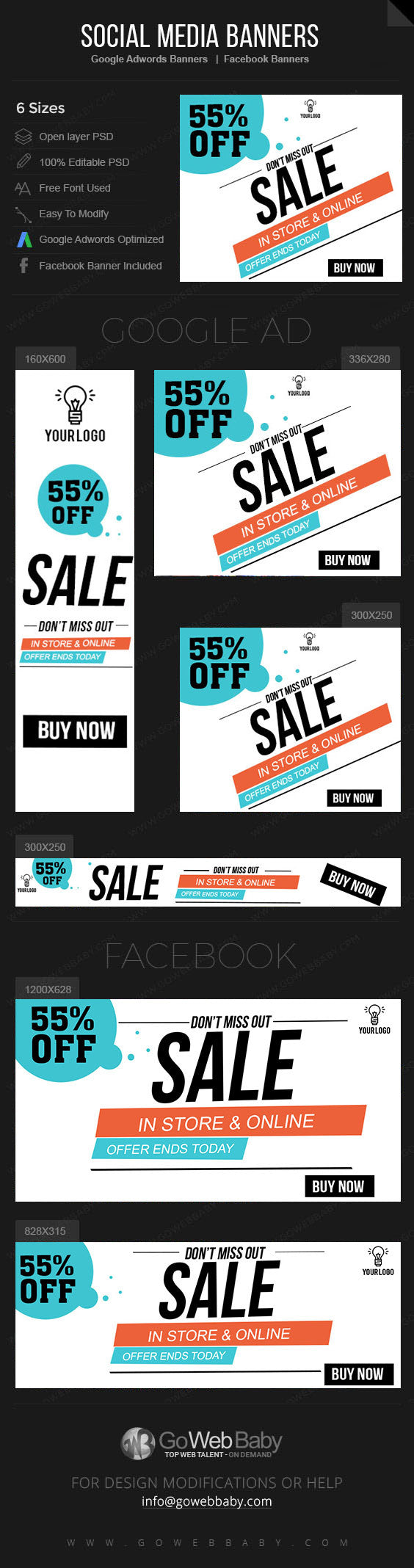 Google Adwords Display Banner with Facebook banners - Sale for  Website Marketing - GoWebBaby.Com